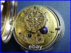 1817 Masonic Large Silver Pair Case Verge Pocket Watch Crofswell London Antique