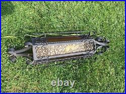 2 Vntg Gothic Iron Amber Glass Sconce, Magnificent Spanish Revival Wrought Iron