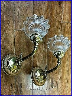 A Pair of Brass Vintage Wall Lights with Ribbed Glass Shades