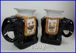 A Pair of Rare Antique Chinese Large Black Glazed Elephant Garden Seats 21