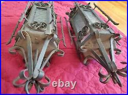 ANTIQUE Pair SPANISH REVIVAL HEAVY WROUGHT IRON & GLASS LANTERNS LIGHTS GOTHIC