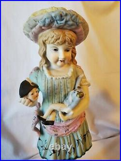 Antique Bisque Boy & Girl Figurines LARGE PAIR 16.5 tall