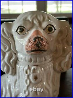 Antique Early Staffordshire Dogs King Charles Spaniels Pair White Large
