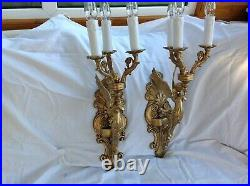 Antique French pair wall lights bronze mythical winged mermaid figure large size