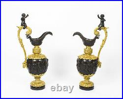 Antique Large 76cm Pair of French Gilt Bronze Ewers c. 1840