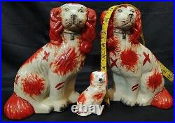 Antique PAIR LARGE White Ginger STAFFORDSHIRE DOGS Regency Red Spaniels +1 mini