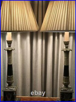 Antique Pair Marble And Bronze Large Neoclassical French Empire Lamps