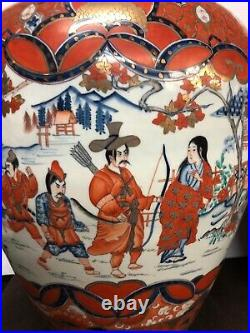 Antique Pair Of Large Japanese Imari Vases 19 1/4 Height Hand Painted