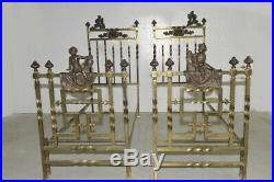 Antique Pair of Italian Twin Beds in Bronze and Brass with Large Cherubs