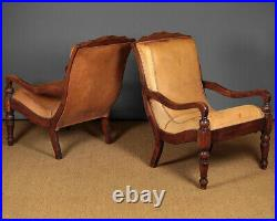 Antique Pair of Large Leather Planters Armchairs c. 1920