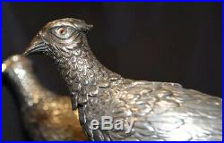 Antique Rare Large Sterling Silver Handmade Pheasant Pair Repousse Bird Statues