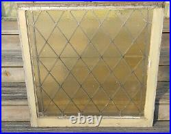 Antique Stained Glass Church Windows Textured Amber Diamond Pattern Large Pair