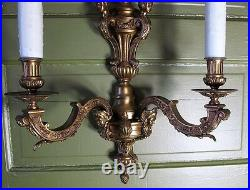 Fine Pair of Large FRENCH GILT BRONZE 2-Light Sconces with Figures 22 x 17