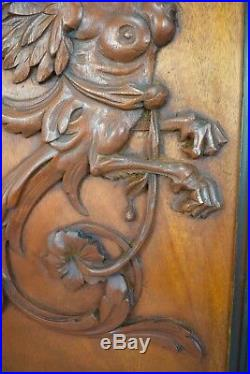 French Antique Large Pair of Carved Mahogany Wood Griffin Chimera Panels Frame