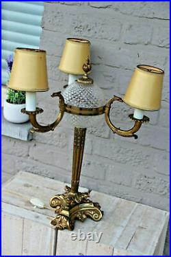 LARGE French antique empire bronze swan 3 arm Lamp glass globe lion paws
