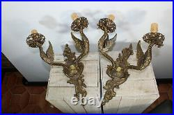 LARGE pair bronze french wall lights sconces gothic castle dragons