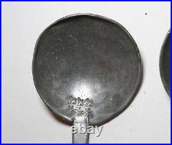LARGE pair of 2 rare antique 17th century solid heavy cast pewter ladle spoon