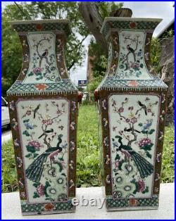 Large 19Th C. Antique Qing Dynasty Pair Of Peacock Porcelain Chinese Vases