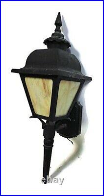 Large 26 Lot Of 2 Pair Black Aluminum Outdoor Porch Wall Sconces Stained Glass