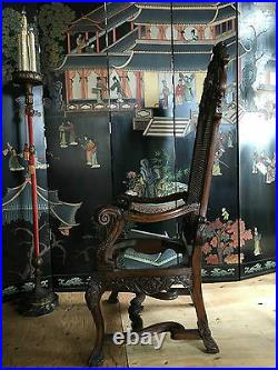 Large Antique Carved Walnut Arm Chairs (pair)