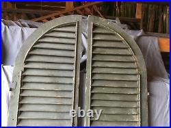 Large Antique Pair Gothic Arched Dome Top Wood Shutters Tall 101x19 Old 634-18E