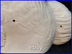 Large Authentic Antique White Staffordshire King Charles Dog Pair Figurines