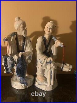 Large Chinese Fisherman Couple Blue White Porcelain Figurine Statues ROC