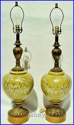Large Pair Antique/Vtg Hand Painted Green Gold Art Glass Metal Table Lamps 5188