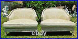 Large Pair Antique/Vtg Oversized Ivory Beige Carved Wood Upholstered Arm Chairs
