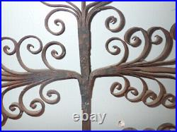 Large Pair Antique Wrought Iron Candle Sconce 18th Century Scroll 2 Arm Holder
