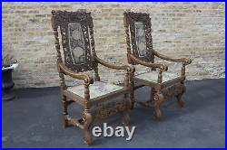 Large Pair Of Antique Carved Oak Throne Chairs Ca. 1895