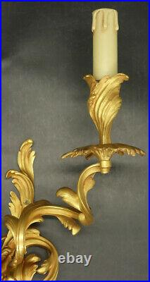 Large Pair Of Sconces Louis XV Style Era 19th Bronze French Antique