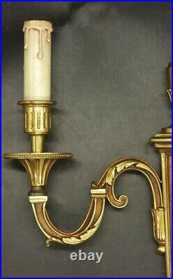 Large Pair Of Sconces Stamped Louis XVI Style Bronze French Antique