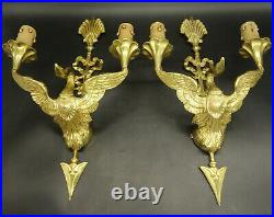 Large Pair Of Sconces, Swans & Arrows, Empire Style Bronze French Antique