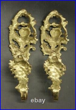 Large Pair Of Tie Backs Putti Decor, Rococo Style Bronze French Antique
