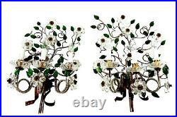 Large Pair Of Vintage Maison Bagues Style Sconces Crystal Flowers 1960s