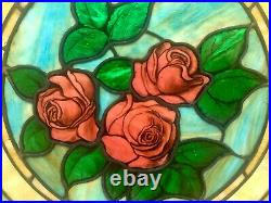 Large Pair of Antique Stained Glass Windows