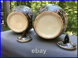 Large Pair of Black Chinese Porcelain Ginger Jars with Lid Figures & Flowers