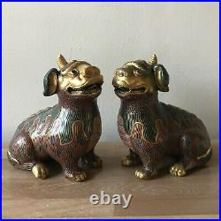 Large Vintage Pair Chinese Cloisonne Foo Dogs or Mythical Beasts