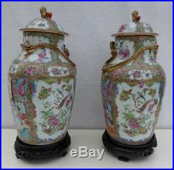 Large antique century pair famille rose canton covered vases chinese porcelain