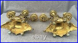 Large antique pair of french Napoleon III chandeliers bronze 19th century 8lb