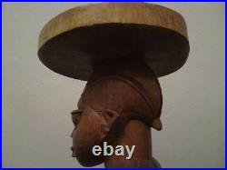 Large pair African Luba Yoruba tribe carved male & female figures wooden stools