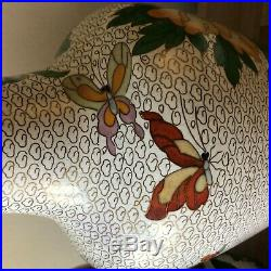 Lovely Pair of Large Chinese Cloisonne Vases Peony and Butterfly Design