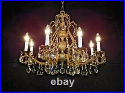 MASSIVE Antique French Brass Lead Crystal Pineapple Chandelier PAIR AVAILABLE