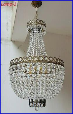 Matching Pair of Antique Vintage Brass & Crystals French LARGE Chandeliers
