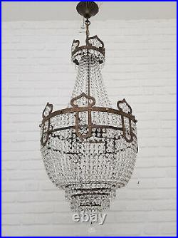 Matching Pair of Antique Vintage Brass & Crystals Moroccan Chandeliers RARE