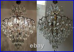 Matching pair of Antique Vintage Cast Brass & Crystals Spider Style Chandelier