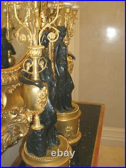 Must Sell, Stunning Large Pair Of French Empire Antique Gilt Bronze Candelabras