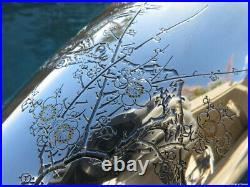 Old Pair Vase Pure Silver Gold Japanese Rare Sterling Meiji Mixed Metal Large Nm