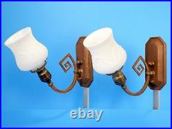 PAIR Antique 1910's Arts And Crafts Brass Bronze White Glass Wall Light Sconces